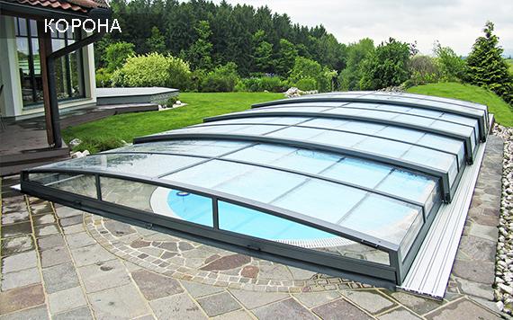 низкий павильон для бассейнов